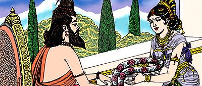 Nymph offering garland to Sage Durvas