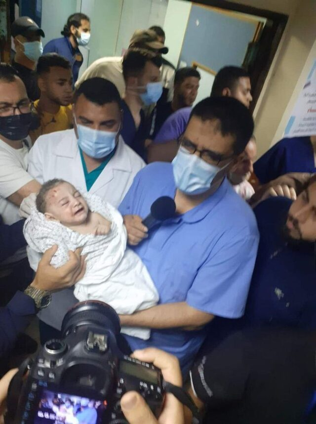 Baby survived in air strikes at Gaza